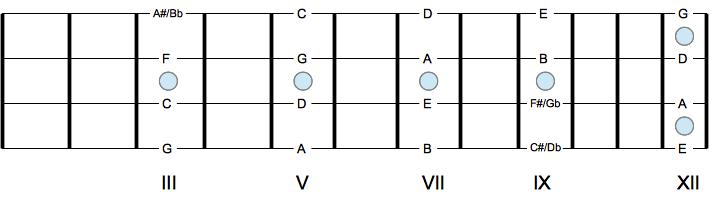 Ноты на грифе, отмеченные маркером схема
